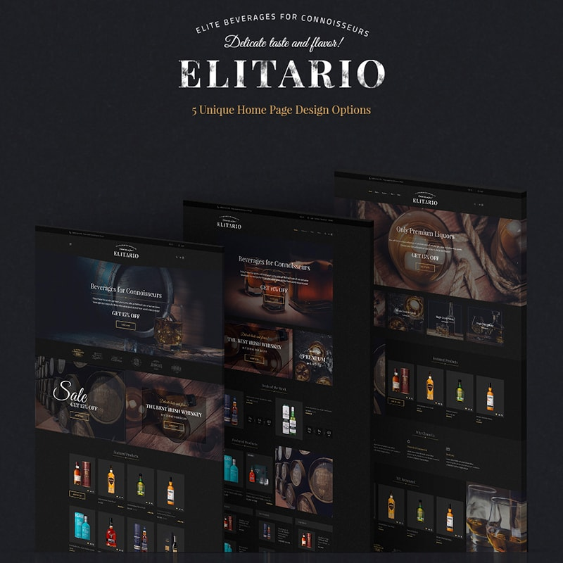 Elitario - шаблон WordPress магазина алкогольных напитков