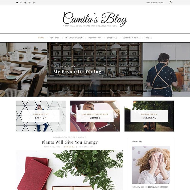 Camila - шаблон WordPress блога в стиле минимализм