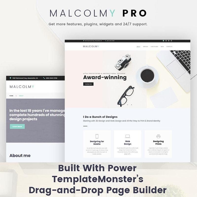 MalcolmY - Бесплатный шаблон портфолио дизайнера
