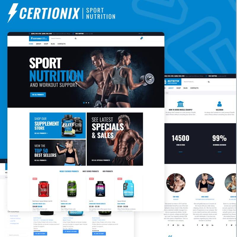Certionix - шаблон WooCommerce интернет-магазина спортивного питания
