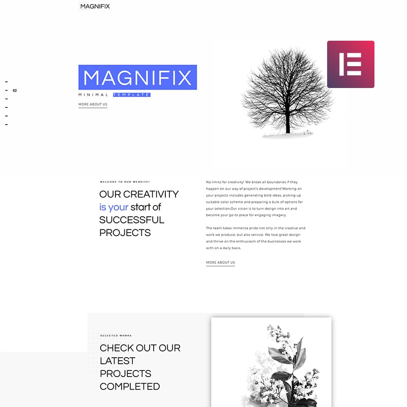 WordPress шаблон Magnifix - Creative Minimal Elementor