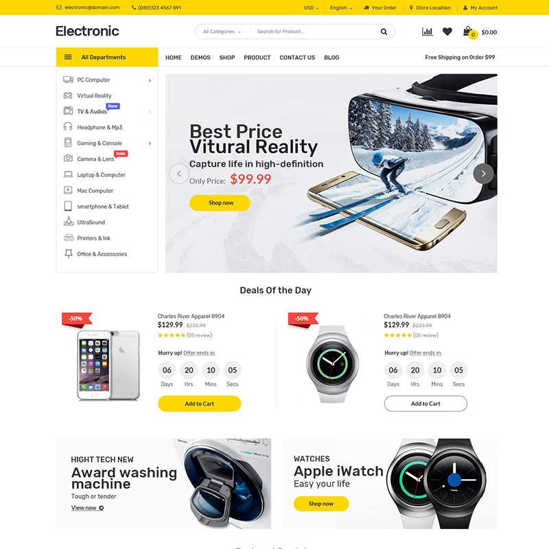 WooCommerce шаблон Electronics