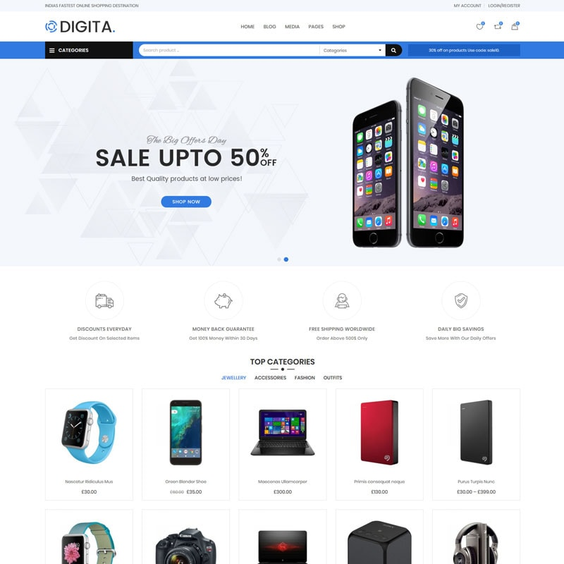 WooCommerce шаблон Digita - Electronics