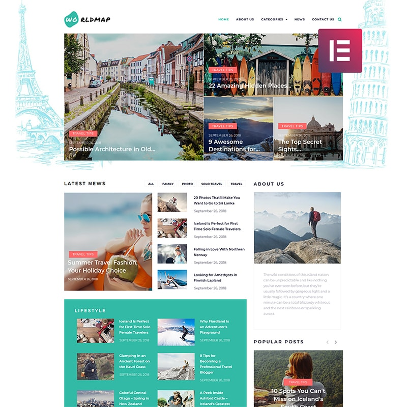 WordPress шаблон WorldMap - Travel Photo Blog Elementor