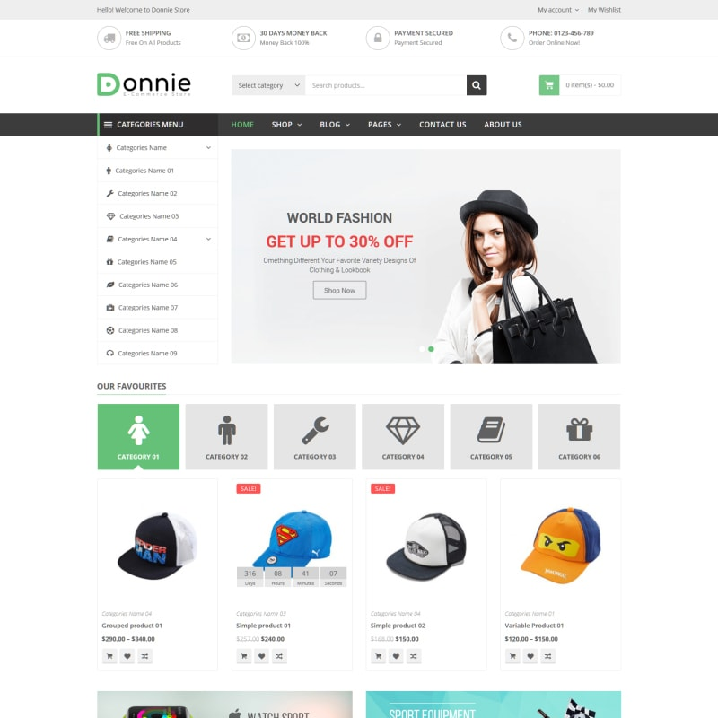 WooCommerce шаблон Donnie - Multipurpose