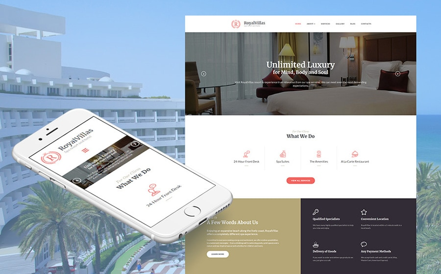 MotoCMS 3 шаблон Royal Villas - Hotel Booking