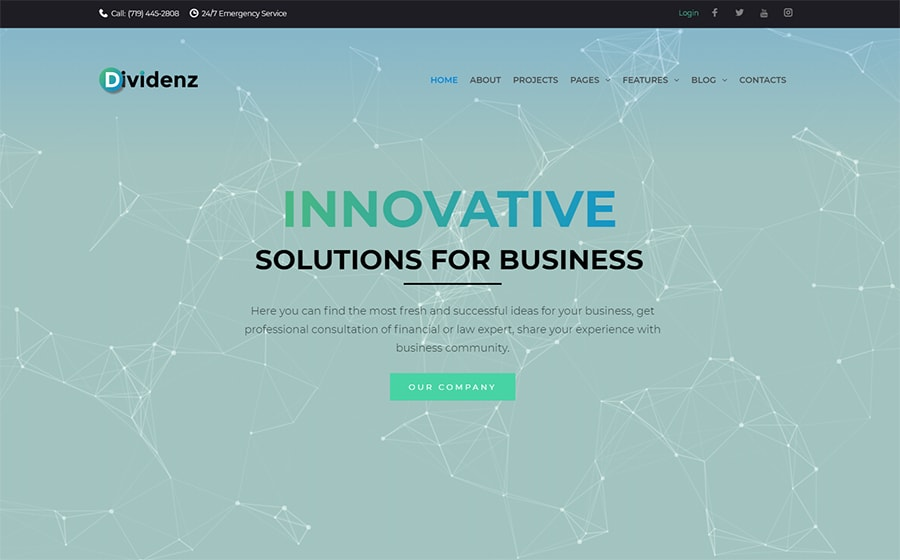 Dividenz - Elementor WordPress шаблон сайта инвестиционной компании