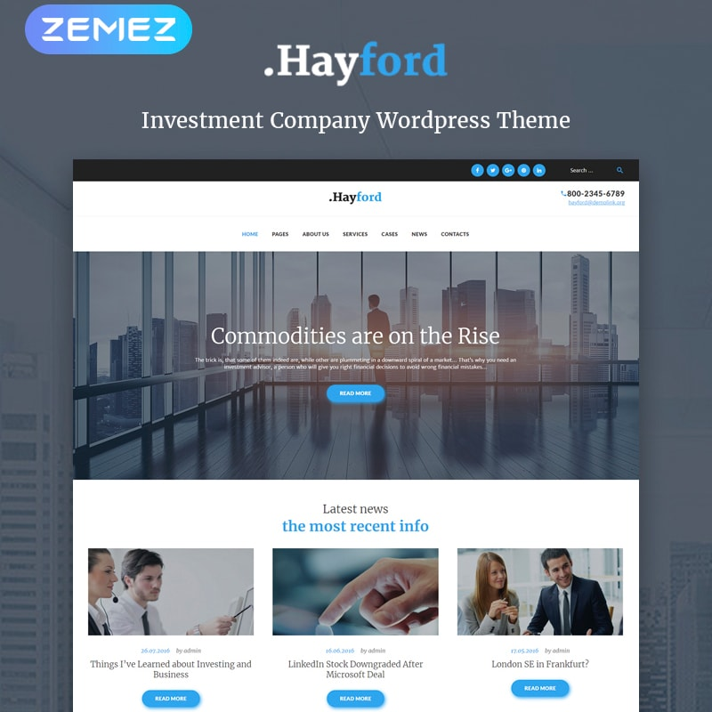 WordPress шаблон Hayford - Investment Consulting Services Responsive