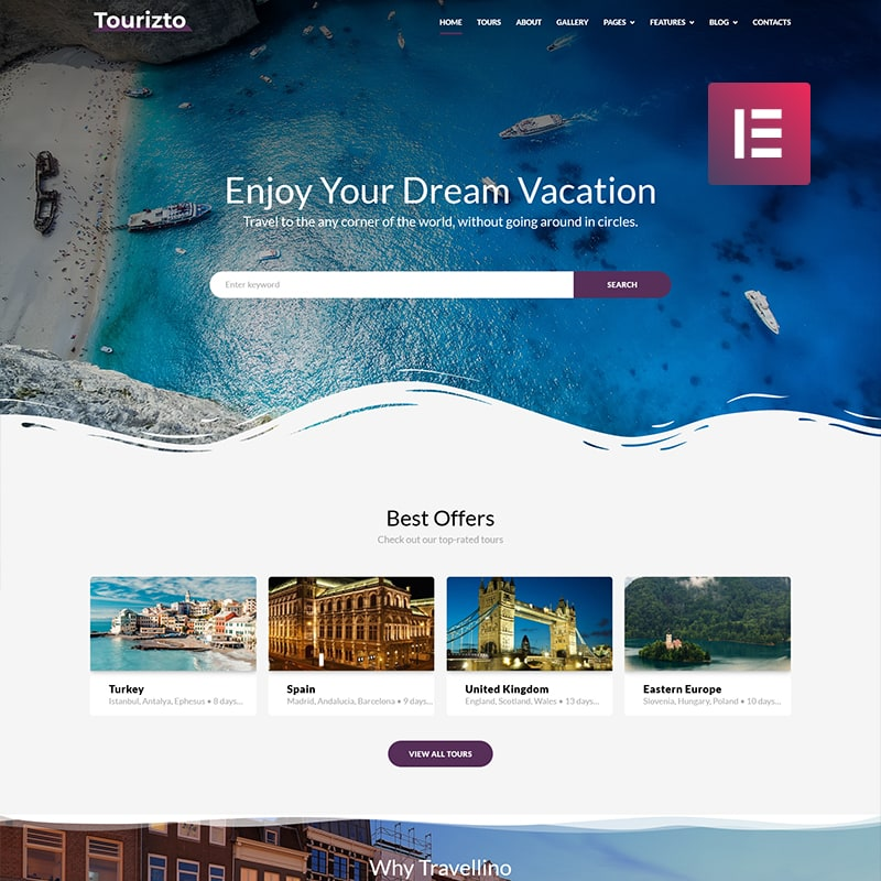 Tourizto - Elementor WordPress шаблон сайта турагентства